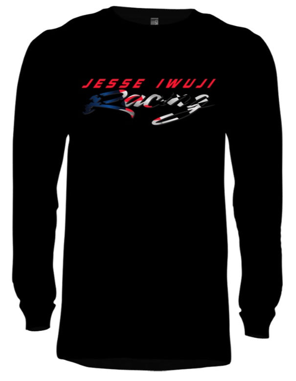 Jesse Iwuji Racing black long sleeve tagless hanes with color logo