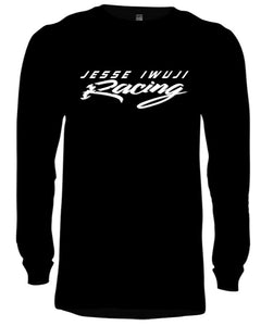 Jesse Iwuji Racing black long sleeve tagless hanes with white logo