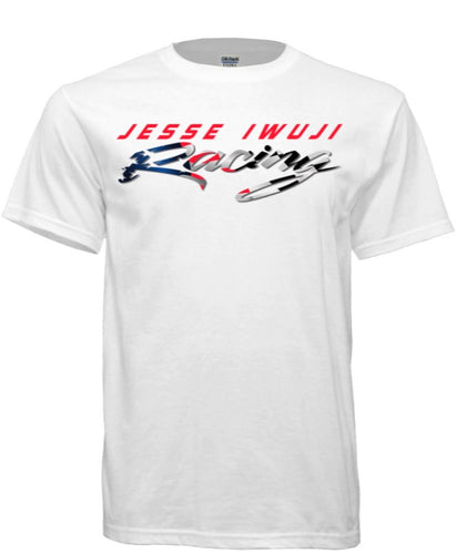 Jesse Iwuji Racing white shirt with color logo
