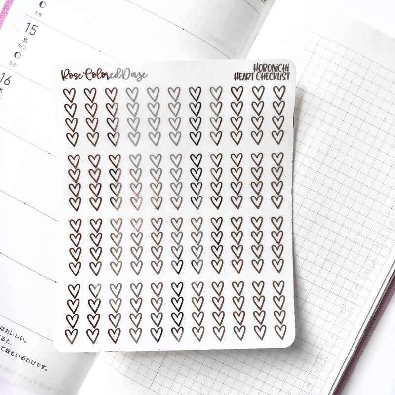 Hobonichi Sized Heart Checklists- Transparent Paper