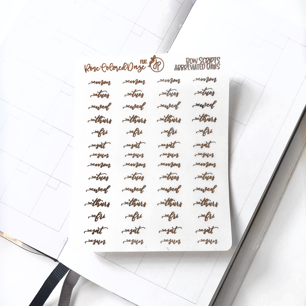 Abbreviated Bow Days of the Week Stickers- Feat. ThePlannerSophisticate