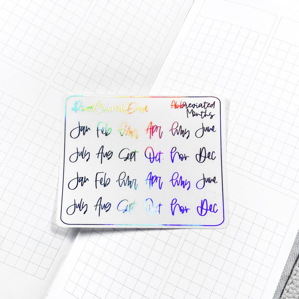 FOILED- Small Abbreviated Month Stickers- Transparent