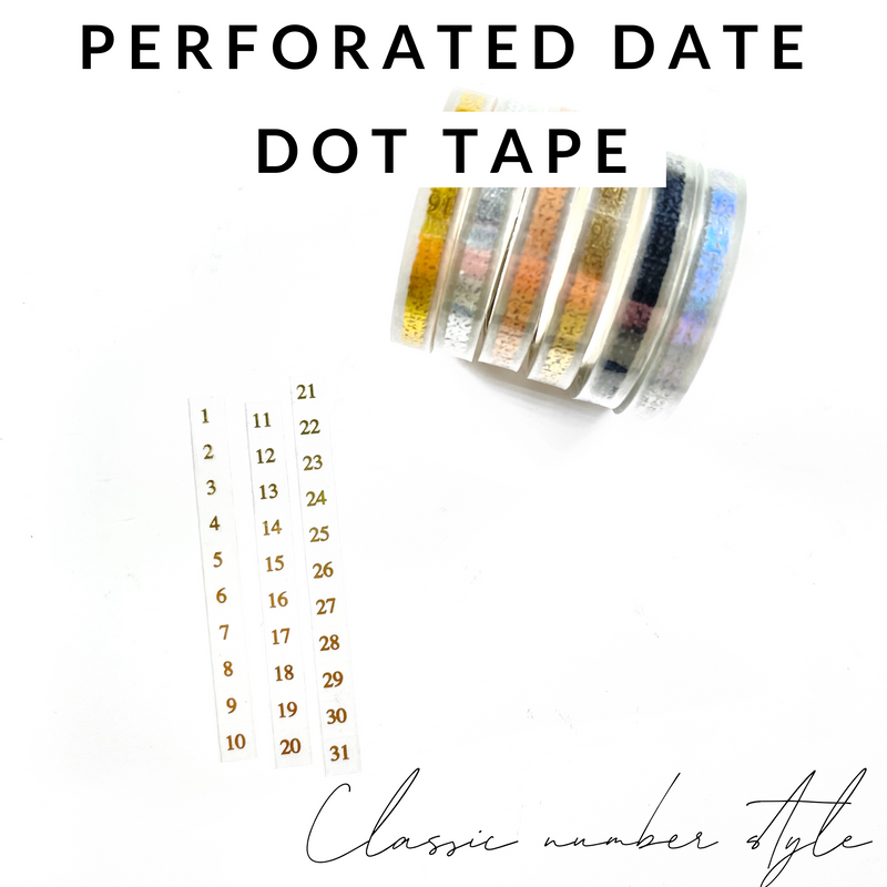 DIY Date Covers- Perforated Day Overlay Tape- DELICATE (Center Alignment)