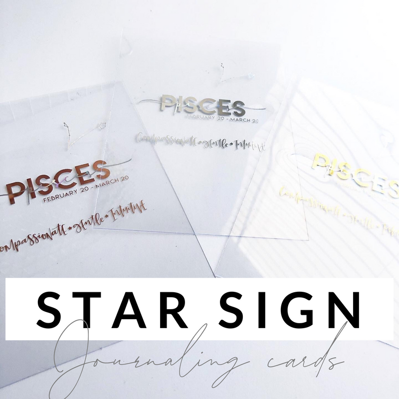 "Star Sign Journaling Cards- Set of 3- 5""x7"""