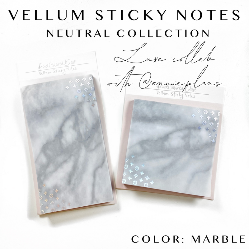 Collab with @annie.plans- Vellum Sticky Notes- LUXE MARBLE