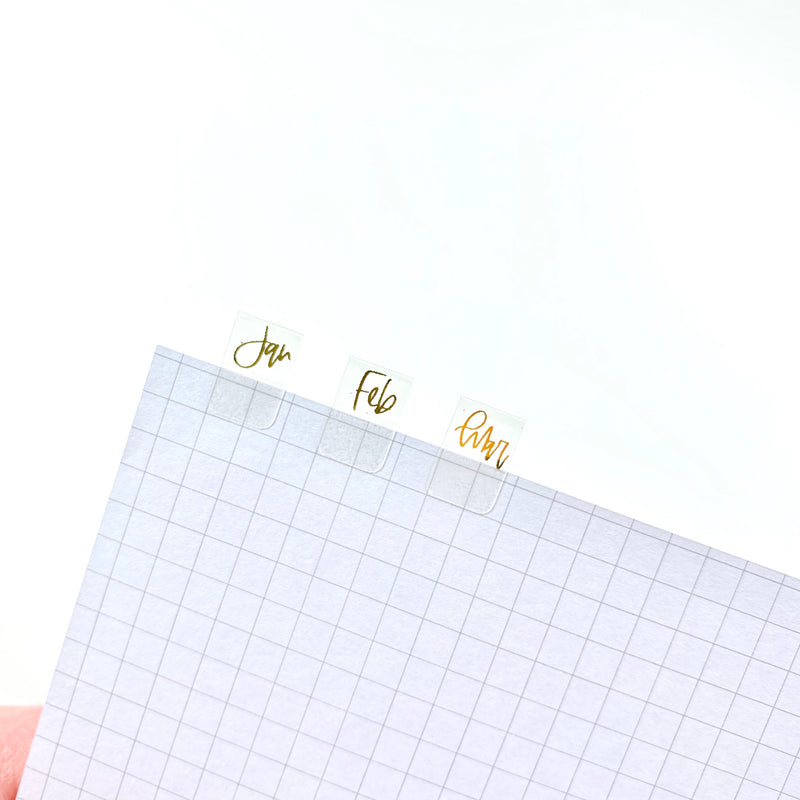 FOILED- Transparent Monthly Tabs Stickers
