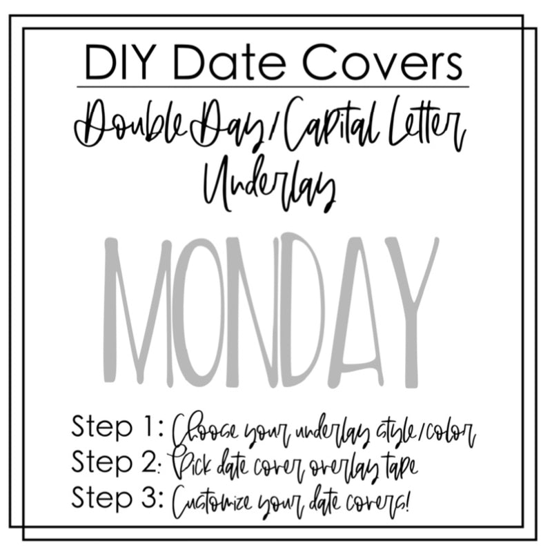 DIY Date Cover OVERLAYS- Single Week Overlays- Sticker sheet- Bow Script
