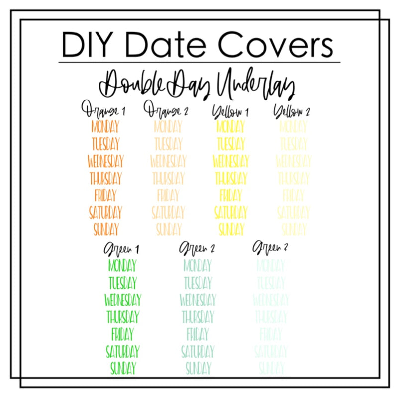 DIY Date Cover Underlays- Double Day/Capital Letter