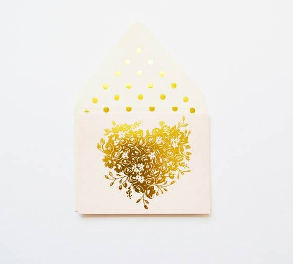 Lovely Gold Sweetheart in Blush Card - JoeyRae