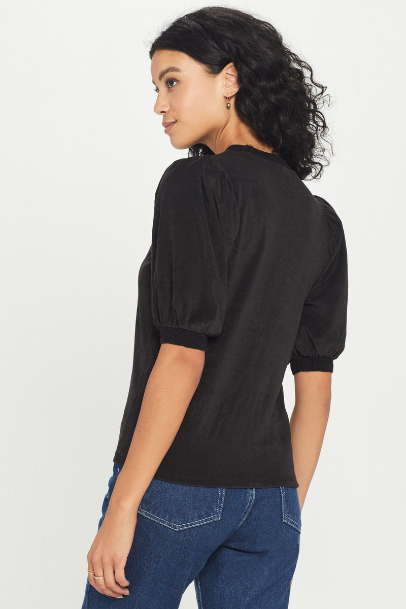 Short Sleeve Puff Pointelle Trim - JoeyRae