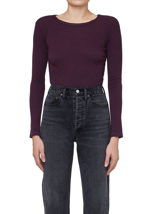Leila Long Sleeve Bodysuit Raisin - JoeyRae