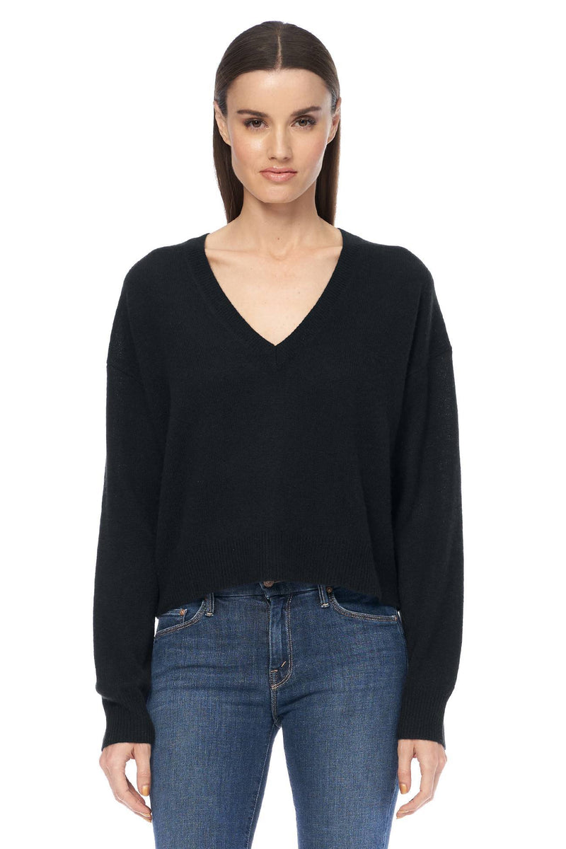 Niomi Deep V-Neck Sweater Black