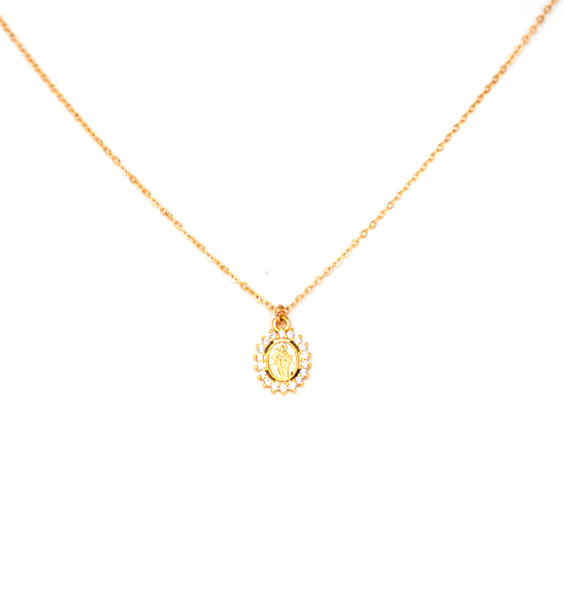 CZ Mary Coin Necklace - JoeyRae