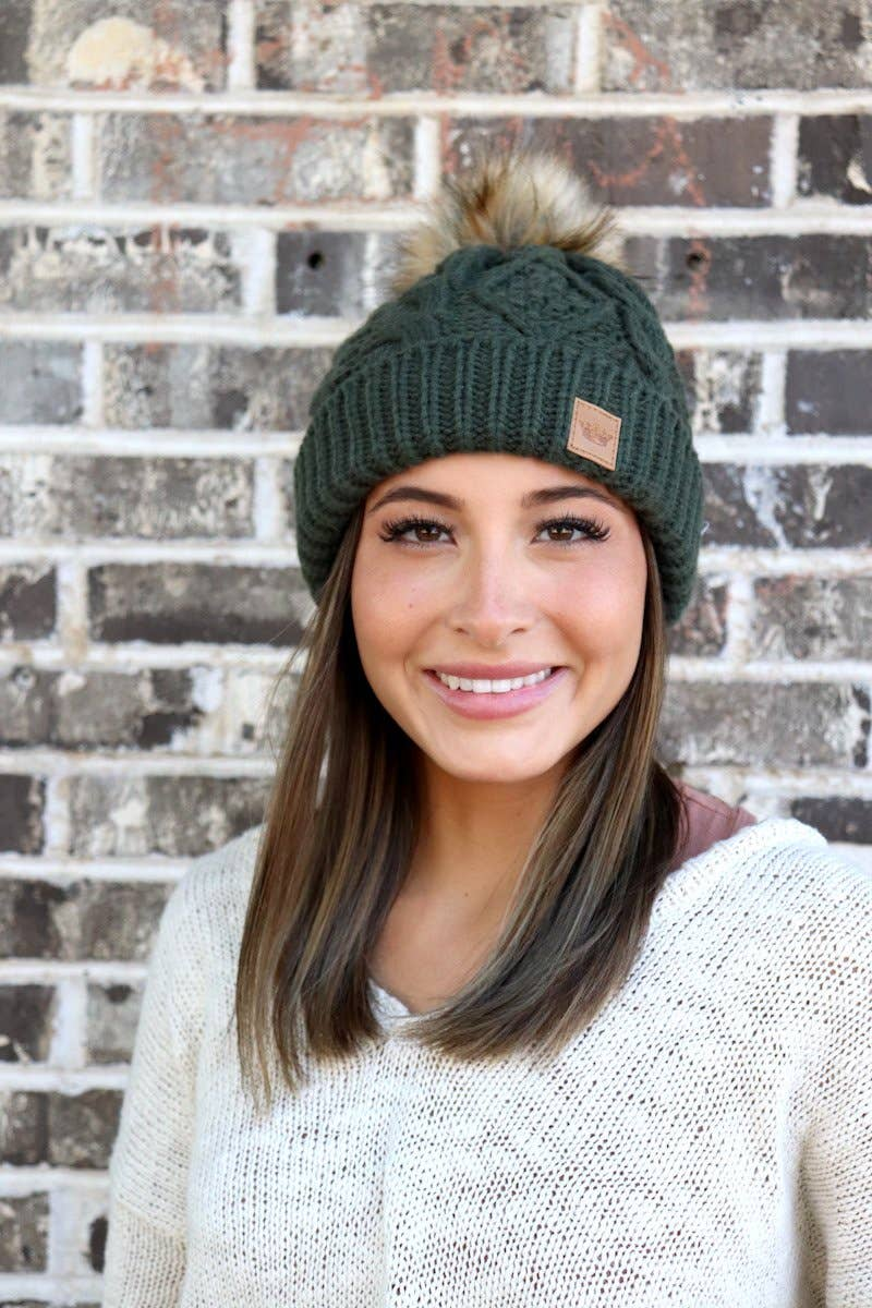 Cable Green Beanie