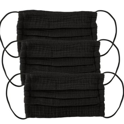 Cotton Mask 3pc Set - Black - JoeyRae