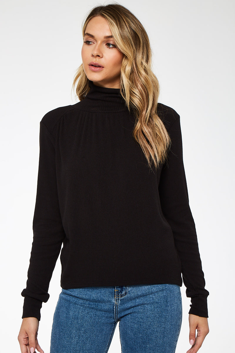 Romance Shirred Turtleneck