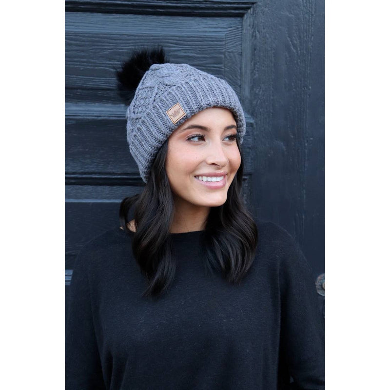 Cable Grey Beanie