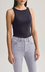 Rib High Neck Tank Black - JoeyRae