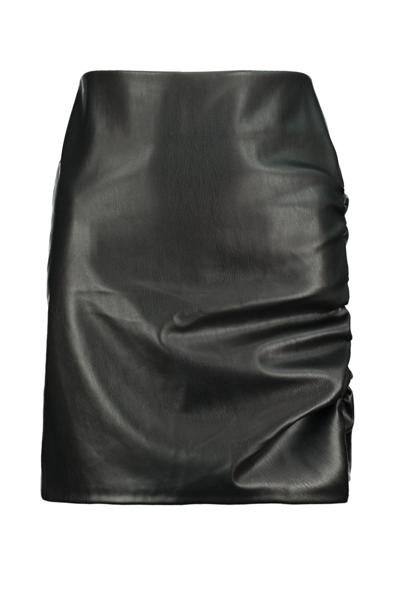 Side Ruche Faux Leather Skirt - JoeyRae