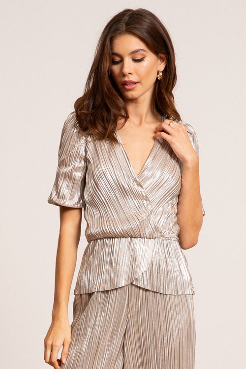 Bianca Metallic Pleated Wrap Top - JoeyRae