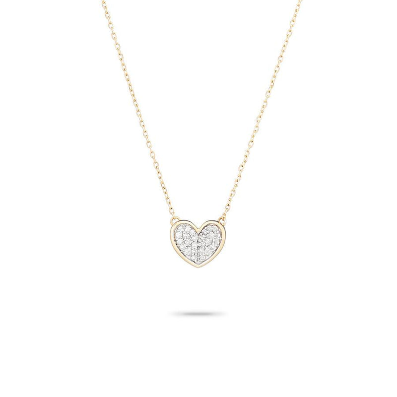 Tiny Pavé Folded Heart Necklace Y14 - JoeyRae