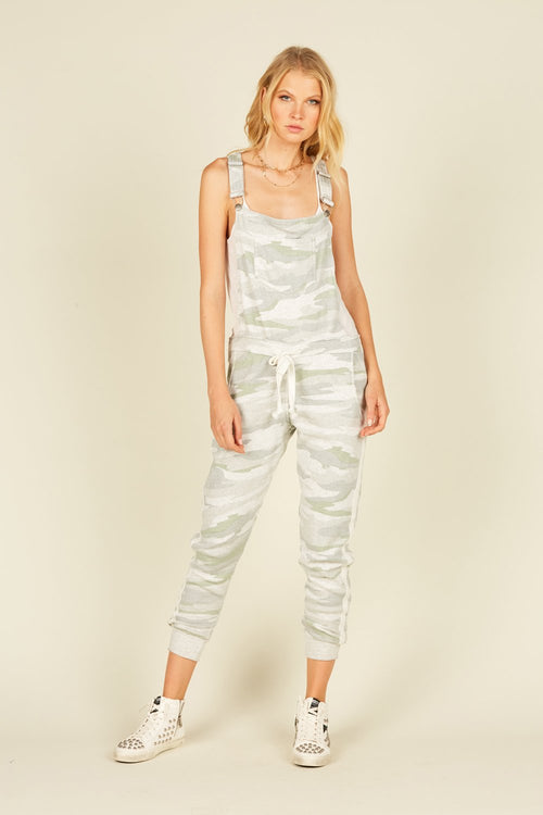 Soft Camo Burnout Fleece Overall Jumpsuit - JoeyRae
