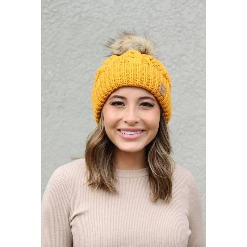 Cable Mustard Beanie