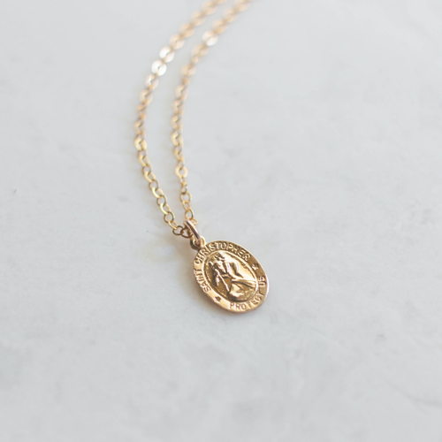 Saint Christopher Gold Necklace - Small - JoeyRae