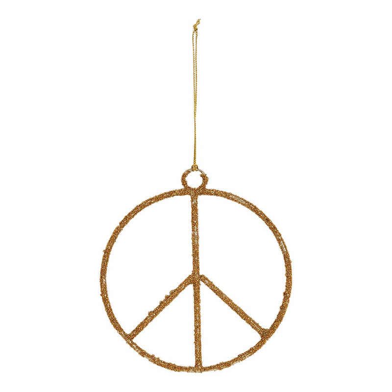 Glass Bead Peace Sign Ornament