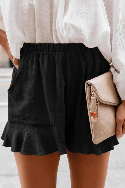 Emma Ruffle Shorts (Black)