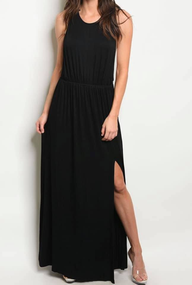 Perfect Braid Maxi Dress (Black)