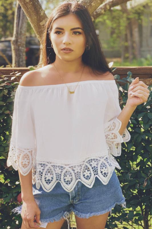 Off the shoulder lace crochet top