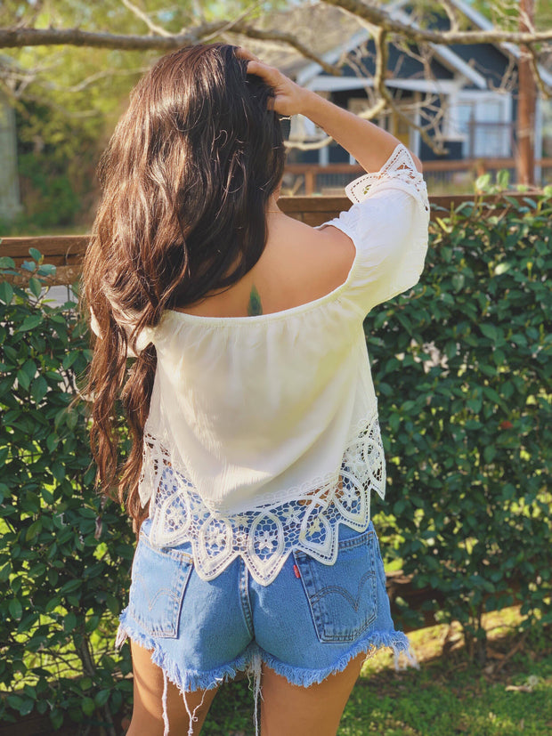 White Off the shoulder lace crochet top