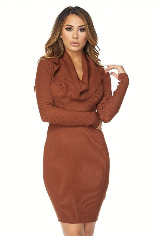 Warm Again Sweater Dress ( Rust) - Dapper Dearest