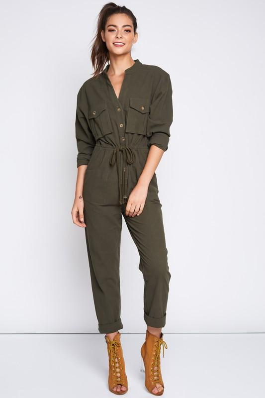 Kourtney Button up Jumpsuit (Olive) - Dapper Dearest