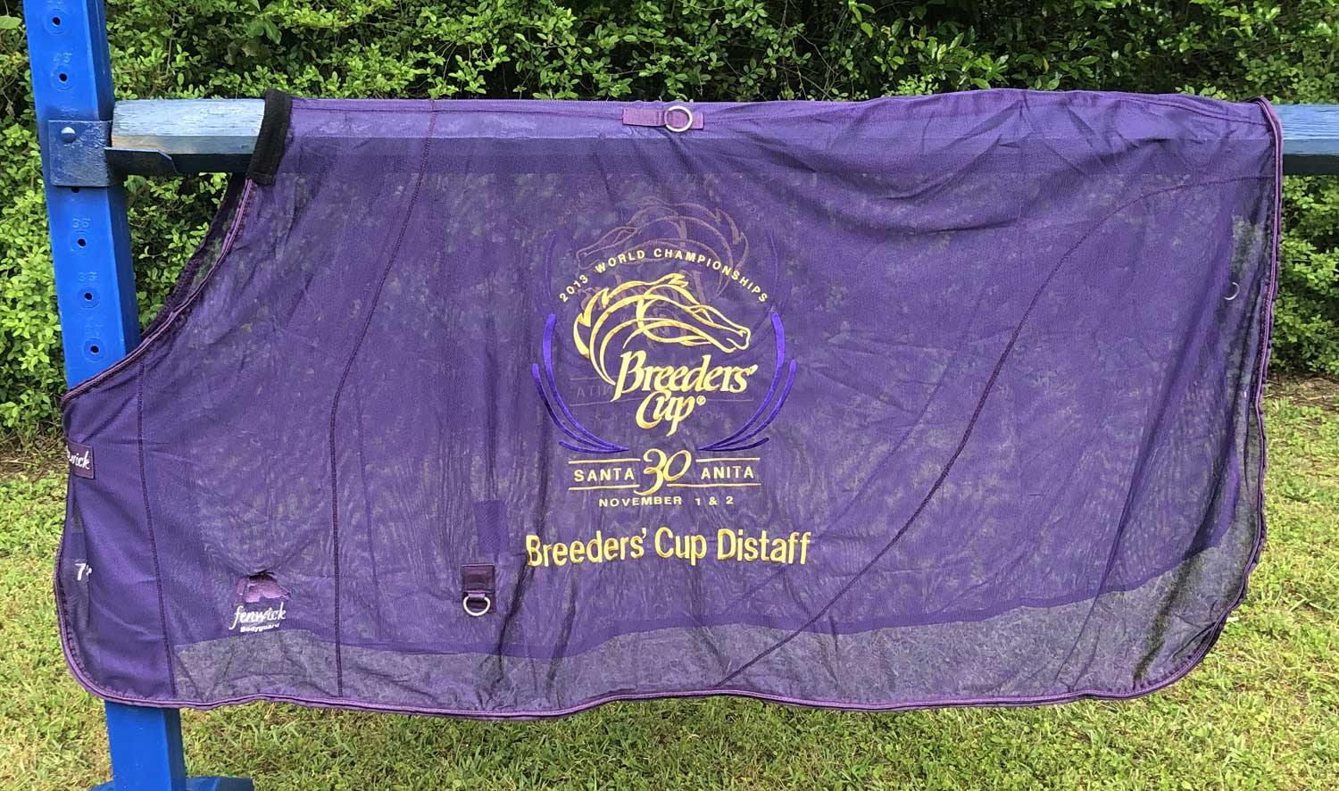 Purple flysheet with gold Breeders' Cup World Championships embroidery for 2013 races at Santa Anita