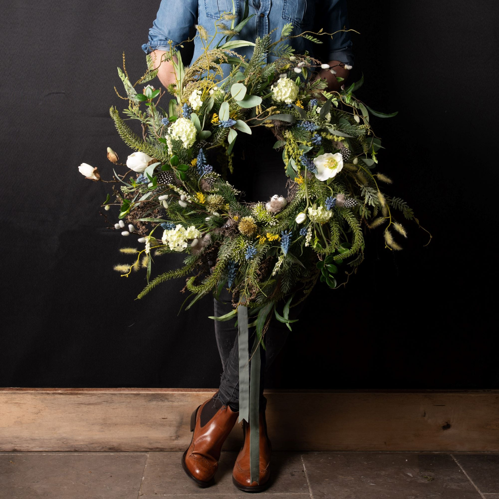 English Blue Spring Wreath