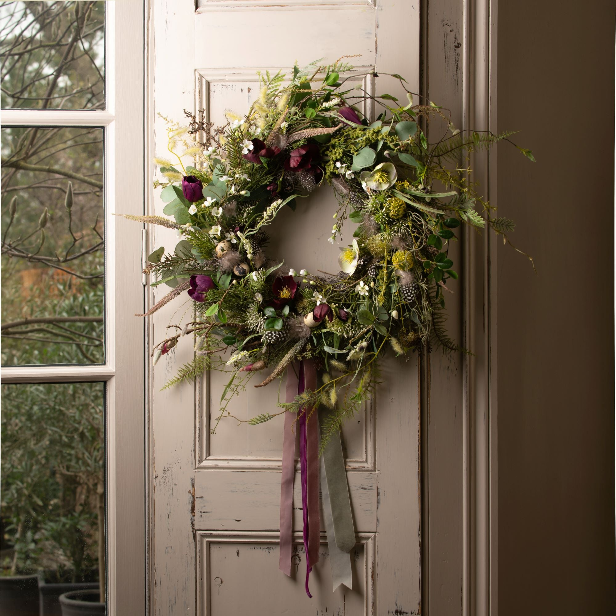 Purple 'Nesting' Spring Wreath
