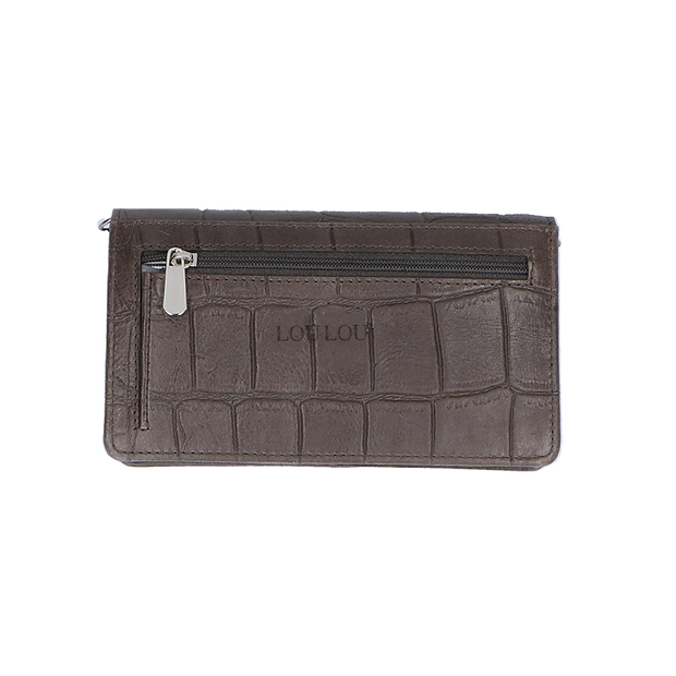 Crossbody Portemonnee | Vintage Croco 10BAGW Dark Grey