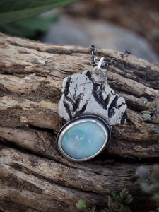 Primal Earth Pendant - Sterling Silver Australian Opal Necklace