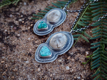Fossil Sand Dollar & Fox Turquoise Nugget Necklace