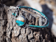 Sky Cloud & Kingman Sterling Silver Bead Bracelet