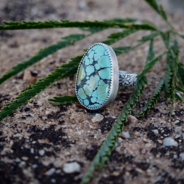 Pastel Hubei Turquoise Floral Ring