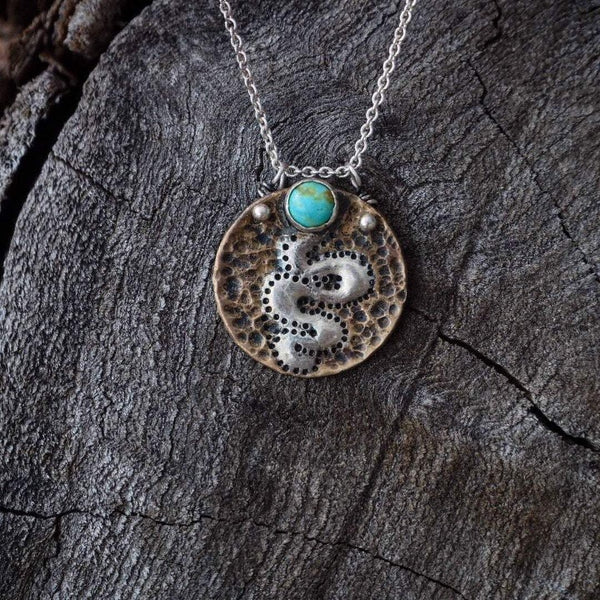 Sterling on Brass Turquoise Snake