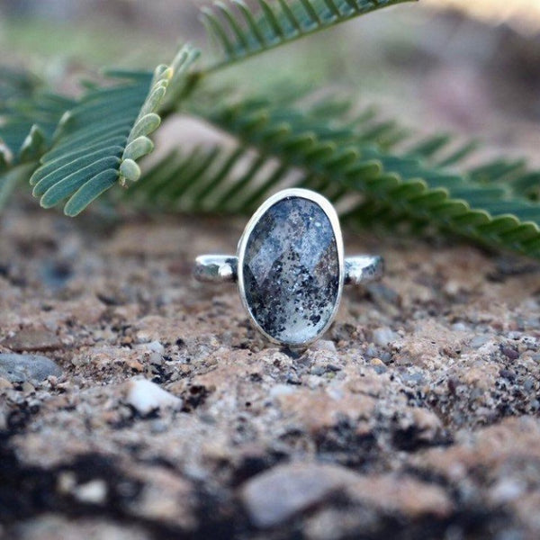 Sunlit Moon Ring - Size 6.5 - Midnight Quartz