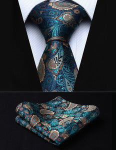 "Party Wedding Classic Pocket Square Tie TP711Q8S Green Brown Paisley 3.4"" Silkeosegal-eosegal"