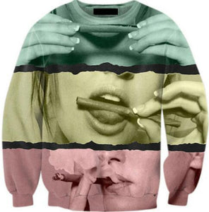 Harajuku Tumblr Hoodies Girl Smoking Weed Crewneck Sweatshirt 3D Print Tops fashioneosegal-eosegal