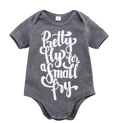 2016 Hot Baby Boy Girls Casual Romper Gray Color Letter Printed Jumpsuit Clothes Outfits 0-24M-eosegal