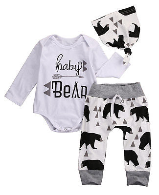 3Pcs 2016 baby Boysclothes Bear letter Pattern long sleeve Romepr+ pants +Hat 3pcs suit newborn baby boy clothing set-eosegal