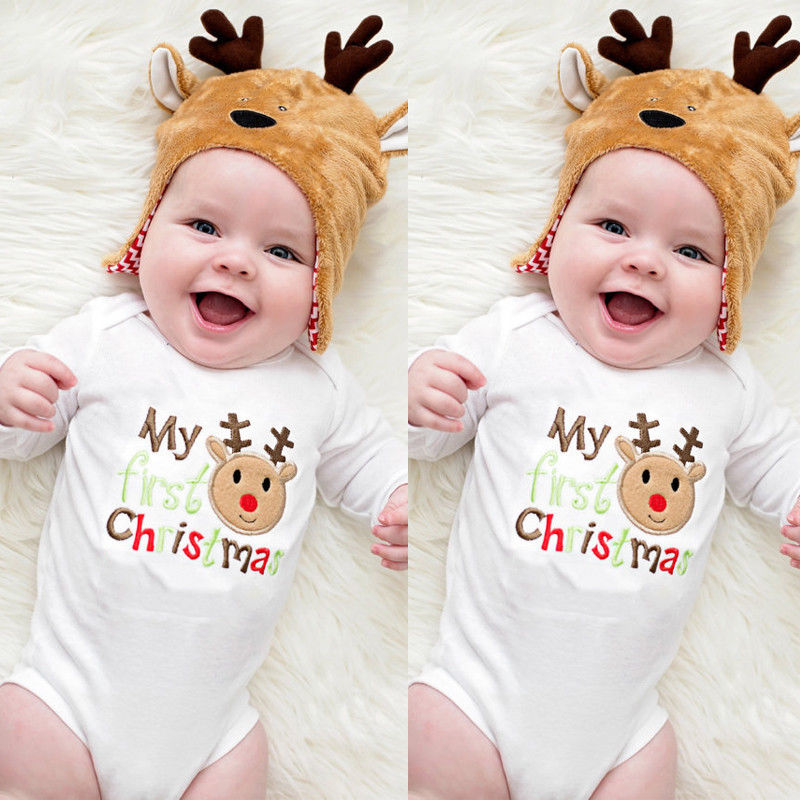 Hot sale Cotton Deer My 1st Christmas Newborn Baby Boy Girls Romper Bodysuit Jumpsuit Outfit Clothes-eosegal